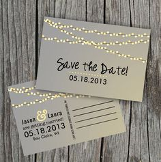 DIY Printable - Save the Date Postcard - String of Lights on Etsy, $15.00