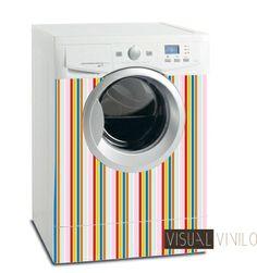 Original diseño en rayas multicolor para la decoración de tu lavadora con nuestros vinilos decorativos