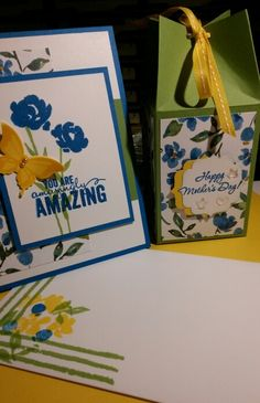 Lovely Mother's Day Card & Gift Box using Stampin' UP!'s Painted Petals & Wonderful Mother stamps sets. The Daffodil Delight CS, ribbon, & ink add a touch of freshness to the Pacific Point - Wild Wasabi - Whisper White combination. Handmade by Q2UNIQUEDESIGNS ~ 2015♡