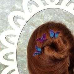 Butterfly Hair Pins Silk Origami 100 Colors of Silk to Choose From Custom Made For Updo Hairstyle SMALL SIZE