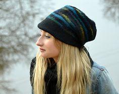 fad8167d8ac Felted cap Unique handmade felt black beanie wool felt cap womens warm wool  hat handmade merino