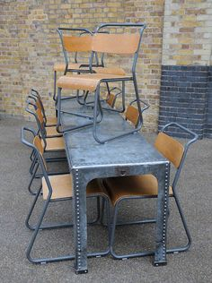 Reclaimed Factory Table and School Chairs
