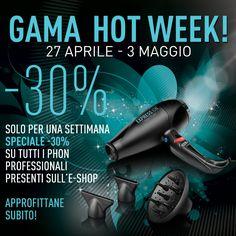 http://www.gamaprofessional.it/Shop -30% su tutti gli asciugacapelli professionali, approfittatene subito, la promozione dura solo fino a domenica! #Gamahotweek
