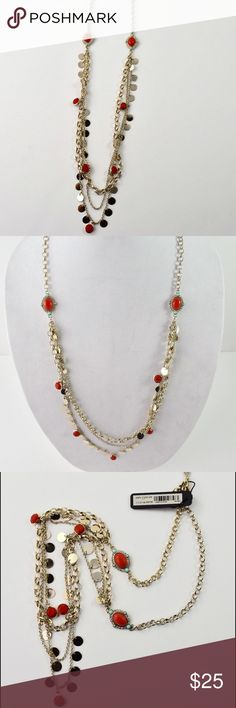 "Ann Taylor Draping Necklace Gold chain necklace with coral and blue Rhine Stones. Lobster clasp closure. Approximately 30"" Long. Ann Taylor Jewelry Necklaces"