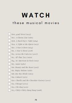 Theatre Bucket List - Musical Movies to Watch