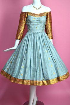 STRIKING 1950s Off Shoulder Gathered Full Circle Silk Dress Heels Purse Shoes