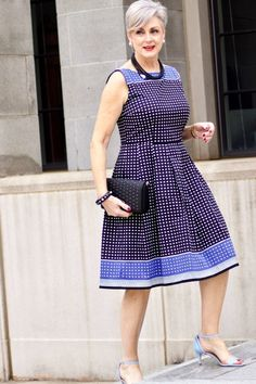 beth from Style at a Certain Age wears a fit and flare dress, kitten heel sandals, and a black clutch handbag Vestidos Color Vino, Kitten Heel Sandals, Easter Dress, Up Styles, My Wardrobe, Flare Dress, Frocks, Fit And Flare, Spring Outfits