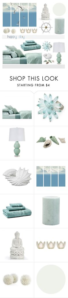 """""""Home ocean"""" by soleuza ❤ liked on Polyvore featuring interior, interiors, interior design, home, home decor, interior decorating, Calvin Klein, Kim Seybert, Worlds Away and Privilege"""