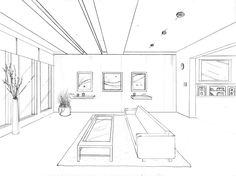 1 point perspective drawing by groovdafied 1 Point Perspective Drawing, Perspective Art, One Point Perspective Room, Drawing Interior, Interior Design Sketches, Drawing Furniture, Architecture Concept Drawings, Space Drawings, Learn To Sketch