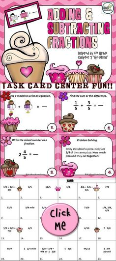 Adding and Subtracting Fractions 4th Grade Go Math inspired Elementary Task Cards.