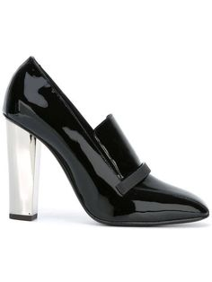 Giuseppe Zanotti NEW & SOLD OUT Black Patent Silver Heels Loafers Pumps in Box #giuseppezanottiheelssilver
