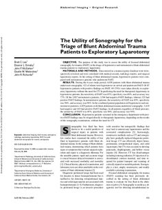 The Utility of Sonography for the Triage of Blunt Abdominal Trauma Patients to Exploratory Laparotomy by Eleanor Ormsby via slideshare