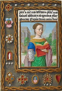 Hours of Joanna I of Castile- interesting. Surcoat, short sleeved kirtle, long droopy sleeves, and gold under-sleeves! Medieval Books, Medieval Manuscript, Medieval Art, Illuminated Letters, Illuminated Manuscript, Medieval Paintings, Renaissance Jewelry, Early Middle Ages, Book Of Hours