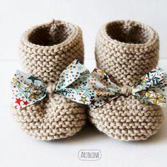 Chaussons naissance 0-3  mois°laine mérinos°beige°liberty