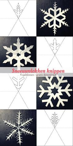 Snowflakes cut - 4 templates Informations About Sjablonen om sneeuwvlokken te knippen Pin You can ea Winter Activities For Kids, Winter Crafts For Kids, Diy For Kids, Diy Crafts To Do, Arts And Crafts, Paper Crafts, Kirigami, Christmas Crafts, Christmas Decorations