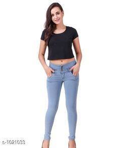 Jeans Trendy Stylish Women's Jean  *Fabric* Denim  *Waist Size* S- 28 in, M- 30 in, L- 32 in, XL- 34 in , XXL - 36 in  *Length* Up To 40 in  *Type* Stitched  *Description* It Has 1 Piece Of Women's Denim Jean  *Work* Solid  *Sizes Available* 28, 30, 32, 34, 36 *    Catalog Name: Alyssa Trendy Stylish Women's Jeans Vol 2 CatalogID_123176 C79-SC1032 Code: 324-1021033-