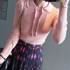 Round Collar Ribbed Knit Top by Miamasvin #Miamasvin #KoreanFashion #AsianFashion