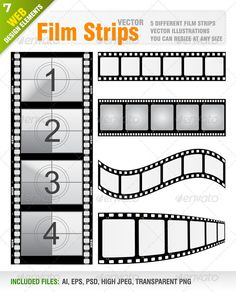 Buy Vector Film Strips by Jackrust on GraphicRiver. Vector set of 5 different film strips Each film strip included in different layer for ai, eps and psd documents. Red Carpet Party, Movie Night Party, Hollywood Theme, Movie Themes, Film Strip, Photoshop, Tag Art, Film Movie, Design Elements
