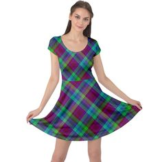 Purple, green tartan, retro buffalo plaid pattern, classic tiled theme Cap Sleeve Dress #dress #womens #fashion #girls #style #cowcow Plaid Pattern, Buffalo Plaid, Fit And Flare, Tartan, Cap Sleeves, Short Sleeve Dresses, Summer Dresses, Retro, Purple