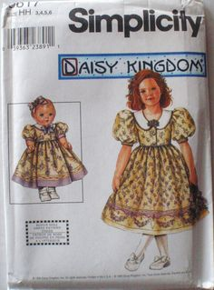 "Little Girl's Daisy Kingdom Dress and Doll Dress for 18"" Doll Sewing Pattern…"