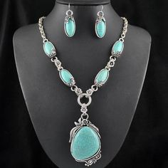 """Silver Plated Necklace and Earring Set Length: 16"""""""