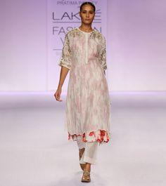 #Ecru & #Floral Silk #Chanderi #Kurta #Set with Zardozi from #PRAMA by #Pratima #Pandey at #Indianroots