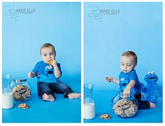 A cookie monster photo shoot for her invitations?
