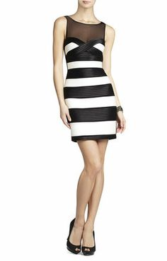 BCBG MAX AZRIA. Mara Fitted Dress With Color-Blocked Strapping