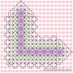 Chicken Scratch Embroidery - Gingham Lace from Mary Corbet § broderie suisse§ Types Of Embroidery, Embroidery Patterns Free, Hand Embroidery Stitches, Ribbon Embroidery, Cross Stitch Embroidery, Cross Stitch Patterns, Chicken Scratch Patterns, Chicken Scratch Embroidery, Diy Bordados