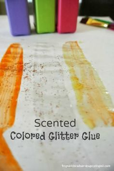Homemade Scented (sugar cookie, lemon) Colored Glitter Glue by FSPDT {add a little extra sensory fun to your next art project with the kids}
