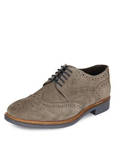 Suede Lace Up Brogue Shoes with Stain Resistance Clothing