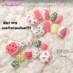 54 New Ideas Nails Summer Toenails Art Ideas Cute Summer Nail Designs, Cute Summer Nails, Summer Toe Nails, Feet Nail Design, Toe Nail Designs, Aloha Nails, Fruit Nail Art, Japan Nail Art, Watermelon Nails