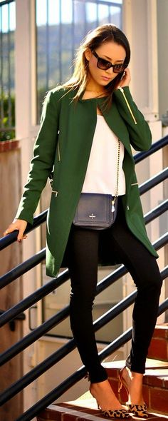 Spring 2015 Fashion - Green Coat with White Blouse and Black Skinnies or Leo Pumps.