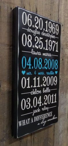 Important Date Sign, Anniversary Gift, Personalized Wedding Gift, Engagement Gift, Custom Wood Sign - Rubberstamp/BlkSwn Custom Wood Signs, Wooden Signs, Family Wood Signs, Important Dates Sign, Wood Crafts, Diy Crafts, Pallet Crafts, Pallet Signs, Personalized Wedding Gifts