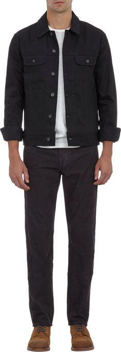 $275, Black Denim Jacket: Rag and Bone Rag Bone Harrow Denim Jacket. Sold by Barneys New York. Click for more info: http://lookastic.com/men/shop_items/91464/redirect