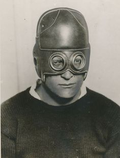 Leather football helmet with built in glasses (1930). Maybe with all the head injuries, we should think about bringing this back?