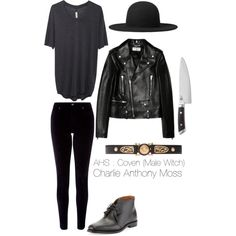 AHS : Coven (Male witch) by charlieanthonymoss on Polyvore featuring Raquel Allegra, Yves Saint Laurent, Monsoon, Versace, Ralph Lauren Black Label, Shun, menswear, americanhorrorstory, ahs and Coven