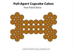 Dog Bone Pull-Apart Cupcake Cake Template   Over 100 Free templates for DIY Pull-Apart Cupcake Cakes @ celebratelifesimply.weebly.com