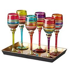 Festive Stripe Cordial Glasses with Tray - On Clearance for $19.98 at Pier 1