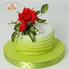 Torturi - Viorica's cakes: Tort aniversar cu trandafiri rosii