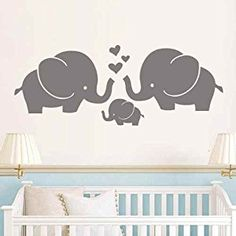 Elephant Family Wall Decal Elephant Wall Art Nursery Elephant Wall Decor For Baby Nursery Room Kids Room (Gray,s)