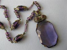A 1930's Art Deco Czech glass amethyst necklace.
