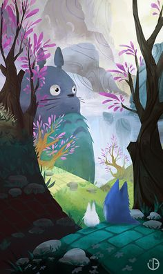Totoro by Vincent Belbari I want to frame this and mix it in with my inspritation wall.