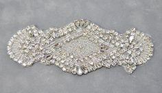 Rhinestone Applique, Wedding Applique, Bridal Sash Applique, Wedding headband, DIY weddings, Crystal trim, rhinestone trim - GA616