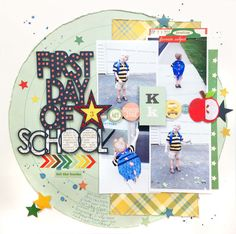 """Created for """"Learning is an Adventure"""" hop. Process video here: Photo Album Scrapbooking, Scrapbook Pages, Scrapbook Layouts, First Day Of School, School Days, School Scrapbook, Scrapbooks, Kids Rugs, Adventure"""