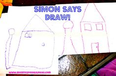 """Play """"Simon Says...DRAW!"""" to help kids practice listening skills and following directions"""