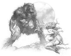"""Werewolf"" Artist Frank Frazetta. Frank Frazetta, Comic Book Artists, Comic Books Art, Comic Art, Image Comics, Illustrations, Illustration Art, Conan O Barbaro, Art Magique"