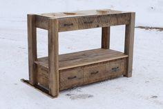 Rustic Vanity  Reclaimed Barn Wood  Farmhouse Style  by Keeriah