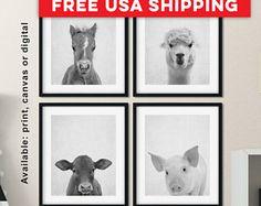 Black and white farm animal prints, Nursery farm animals, Farmhouse nursery decor, Farm animal nursery prints, Farm baby decor Print/Canvas