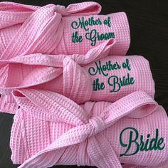 Set of our soft pink robes! Bridesmaid gift ideas, mother of the bride, mother of the groom gift Etched Mason Jars, Custom Mason Jars, Mother Of The Groom Gifts, Mother Of The Bride, Personalized Bridesmaid Gifts, Unique Wedding Gifts, Wedding Glasses, Custom Engraving, Gift Ideas